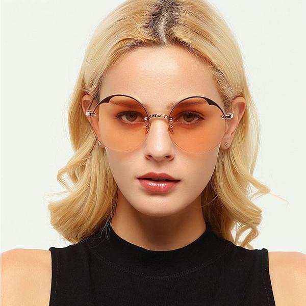 Compre Gafas De Sol Redondas Elegantes De Lujo Mujeres Sin Montura ...