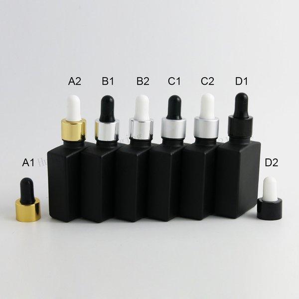 12 x 30ml Bottiglie vuote di vetro piatto quadrato nero gelo con contagocce di vetro 1 oz contenitore di vetro contagocce