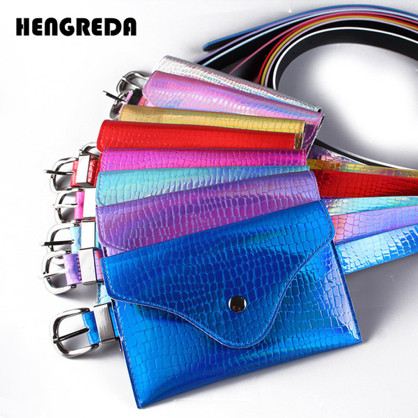 Holographic Women Belt Fanny Pack 2018 Crocodile PU Pattern With Removable Belt Laser Pockets Waist Bag Bum Pouch for Travel