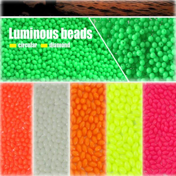 100pcs ovale taille mixte perles de pêche lumineuses orange jaune vert rose blanc rouge flottant perles de pêche en plastique