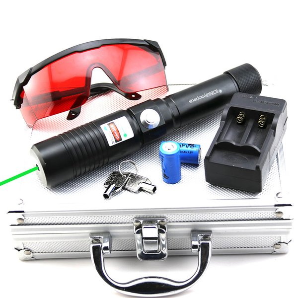 SDLasers GX1-0100 Adjustable Focus 532nm Green Laser Pointer With 1*18650 Li Battery & Charger & Goggles & Safety Key and Aluminium Box