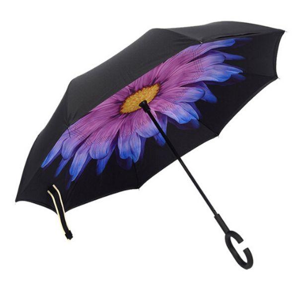 Moda creativa Plegable C grande Mango Hombres / Mujeres Paraguas invertido Cielo Marcha de viento a prueba de viento inversa