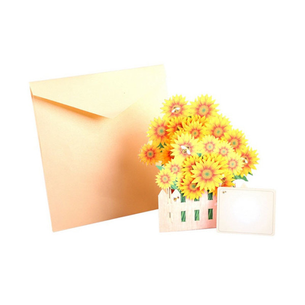 New 3D Pop Up Greeting Cards Sunflower Birthday Mother Day Thanks Christmas Gift Postcard free shipping