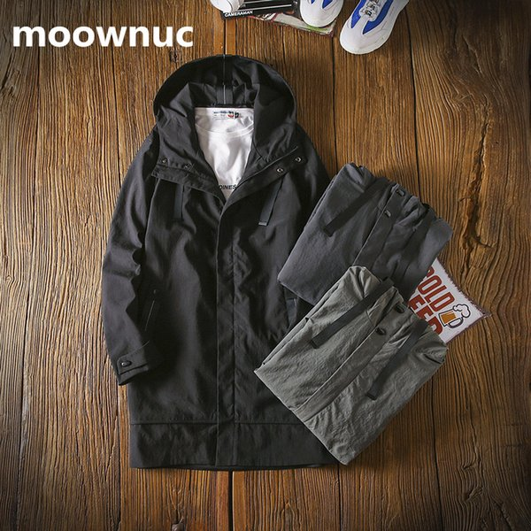 NEW Style mens Fashion Trench Coats 2018 autumn men's Coat Loose Solid Jackets Casual Hooded Windbreakers men plus Size M-3XL