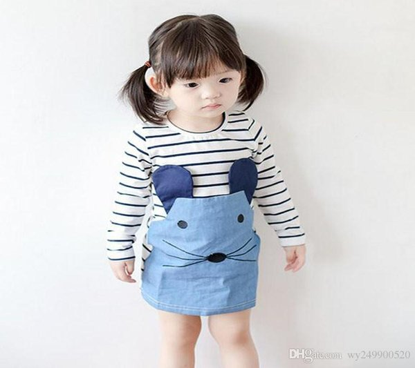 hot Summer 100% Cotton girl dress little mouse embroidered skirt striped stitching girl dress 100-130 free shipping
