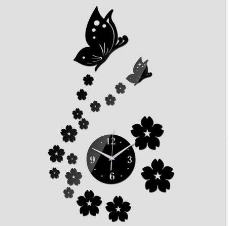 Free Shipping 3D Mirror Wall Clock DIY Crystal Watch Wall Clocks Home Decoration, Reloj De Pared 2 Butterfly and 17 Flowers