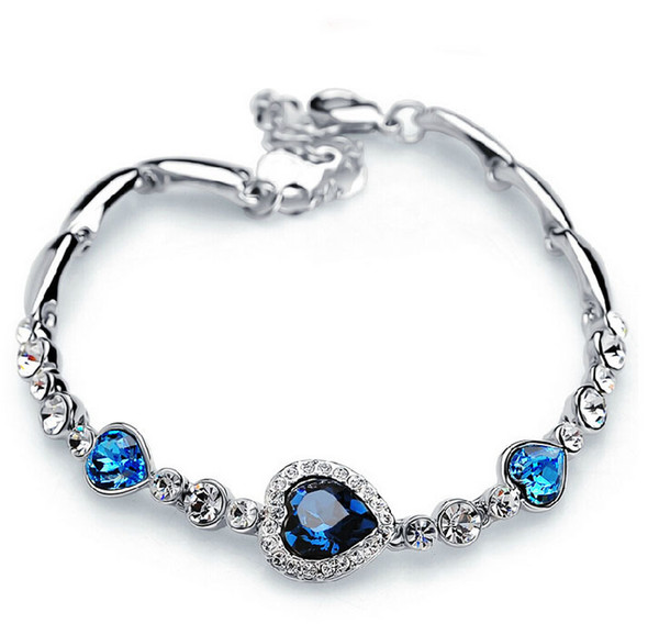 Bracelets for Women Fashion Ocean Blue Sliver Plated Crystal Rhinestone Heart Charm Bracelet Bangle Gift Swarovski Jewelry Charm Bracelets