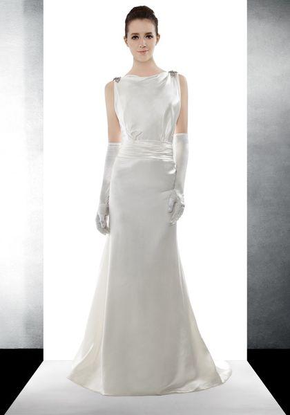 High-end customization handmadeBoat Neck Mermaid Wedding Dress in Satin