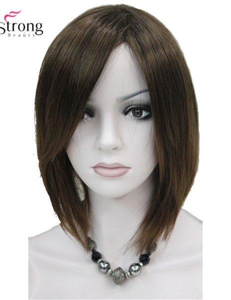 Parrucca sintetica marrone dritta corta, parrucca sintetica con frangia laterale