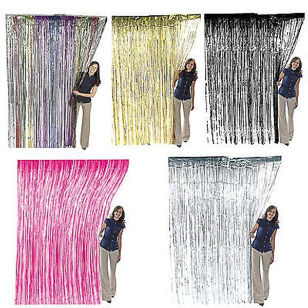 Gold /Red /Blue /Silver /Fushiatinsel Shimmer Foil Door Curtain Tinsel Curtain Birthday Halloween Party Decoration