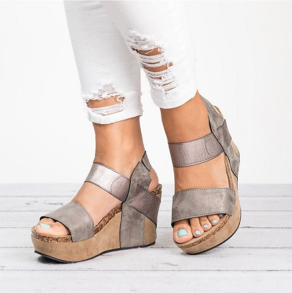 dcc6f4638 ANGUSH Female High-Heeled Wedge Sandals New Arrival Summer Breathable  Casual Shoes Hot Sale Women Large Size Sandals Grey Gold Brown Apricot