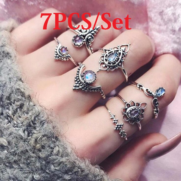 7PCS/set Gold rings Retro Carved flower Hollow out Blue purple crystal rings for women fashion jewelry with extra free samples at rando