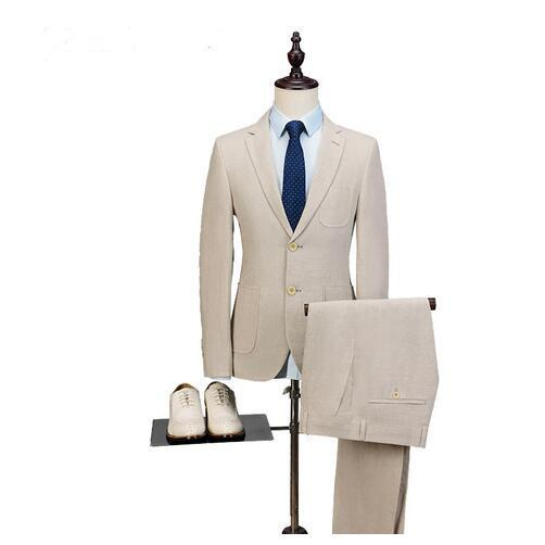 New Beige Men Suit For Wedding Slim Fit Wedding Party Tuxedos Prom Tuxedo Custom Made Best Man Suit (Jacket+Pant)