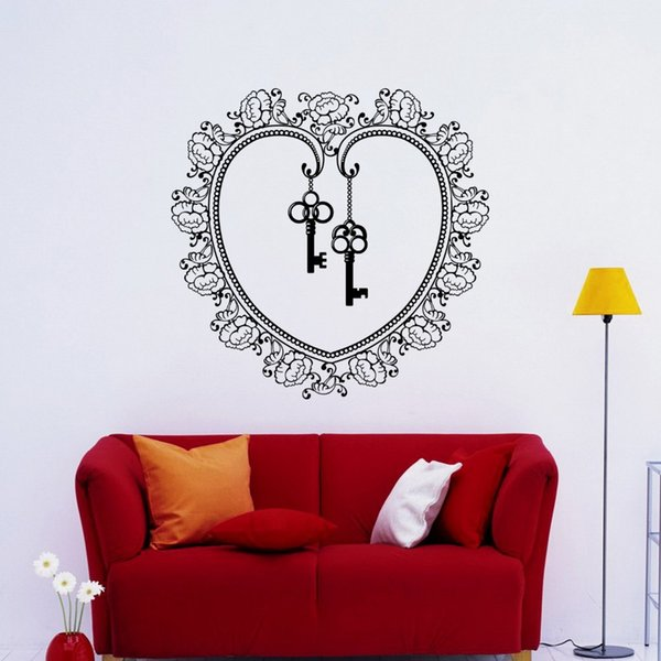 Removable Wallpaper Flower Key Heart Wall Stickers for living room bedroom home wall decoration