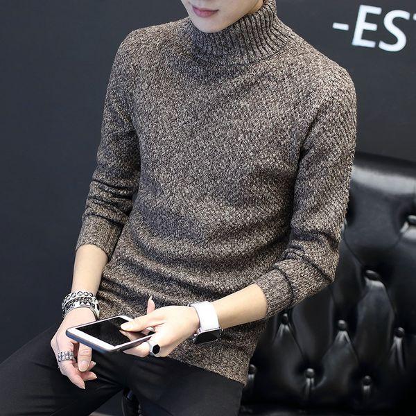 7680946d4999d Осень и зима водолазка свитер мужской тренд тонкий отложным воротником  свитер удобные подростковые утолщение основные