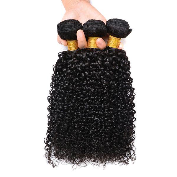 Paquetes de trama de cabello natural rizado brasileño virgen sin procesar 18 20 22 pulgadas sin desprendimiento de cabello rizado sin enredos