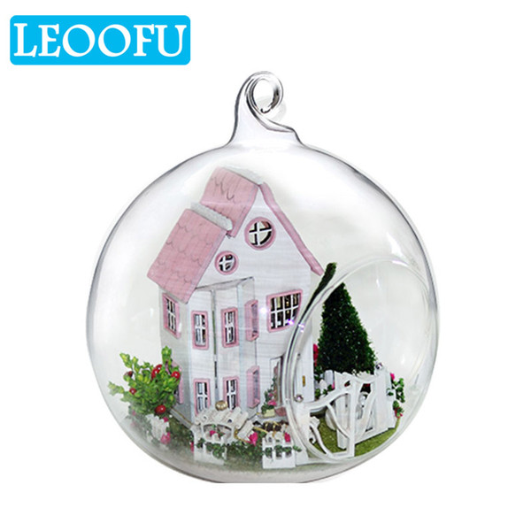 LEOOFU glass ball doll house model furniture wooden miniature assembling dollhouse toy develop children's practical ability