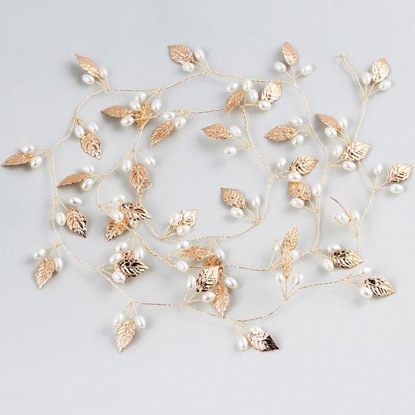 Gold Leaf Bridal Long Hair Vine Wedding Headband Pearls Hair Jewelry Women Prom Headpiece Accessories Bridesmaid Headwear