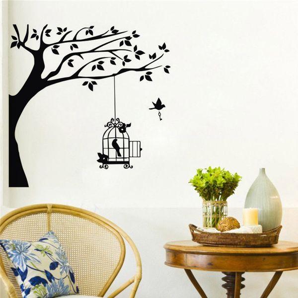 Large Tree Wall Stickers Birds Decorative Vinyl Decals Removable Waterproof Home Decor Wallpaper Murals