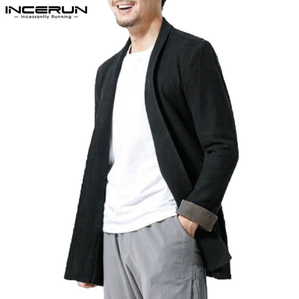 INCERUN Chinese Style Mens Cardigan Cotton Long Sleeve Lapel Neck Open Stitch Outerwear Casual Streetwear Vintage Me Trench Coat
