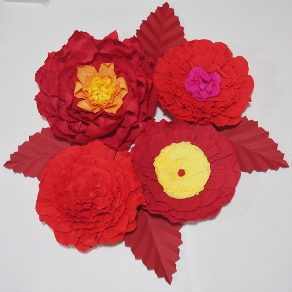 Giant Crepe Paper Flowers Artificial Flowers 4PCS+Leaves 4PCS For Wedding & Event Backdrop Baby Nursery Photography