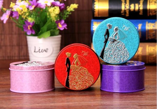 300pcs Round Shape Metal Tin Material Bride Groom Candy Box Wedding Favor Gift Favours Wedding Party Free Shipping 20180509#