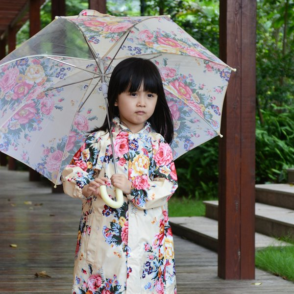 Fashion spring and autumn baby raincoat flower female child raincoat poncho children's clothing rain gear