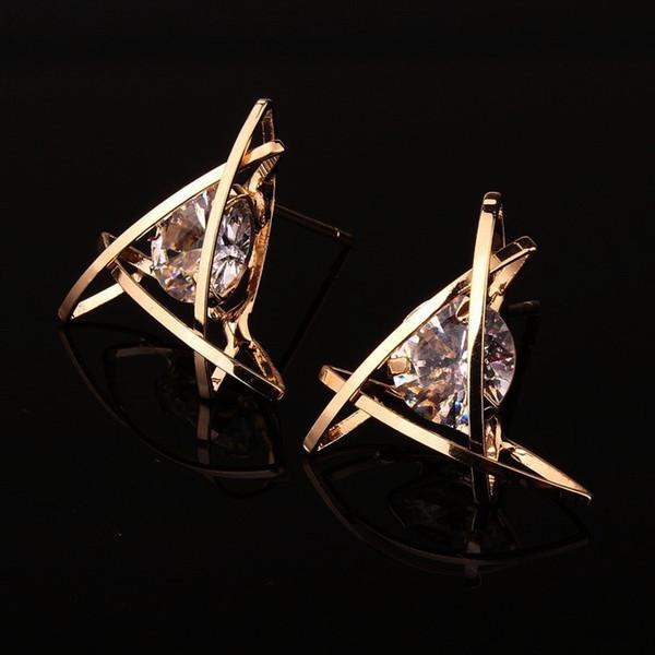 20 paires / lot, 6 sortes de style All-Match Earrings Alliage incrusté Boucles d'oreilles en cristal de zircon naturel Cadre ne se fanant pas Prévenir l'allergie Boucle d'oreille simple