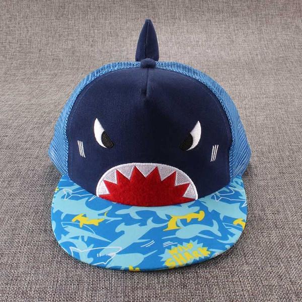 2-4 anos baby boys verão malha bonés de beisebol bonito azul tubarão leve respirável pala de sol chapéus crianças wide brim outing praia casquette garcon