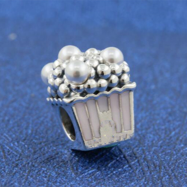 100% authentische S925 Sterling Silber köstliche Popcorn Charm Bead mit rosa Emaille passt europäischen Pandora Schmuck Armbänder Halsketten