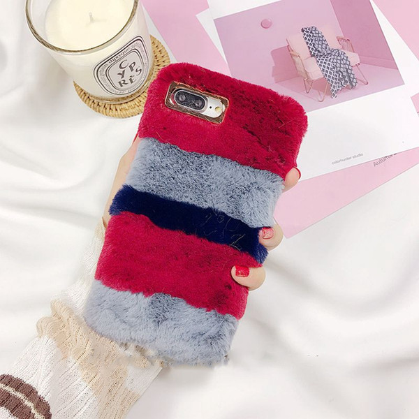 top popular Free DHL whole sale Color Fluffy Rabbit Fur Silicon Phone Case For Apple iPhone X 6 6s 7 7plus 8 2019