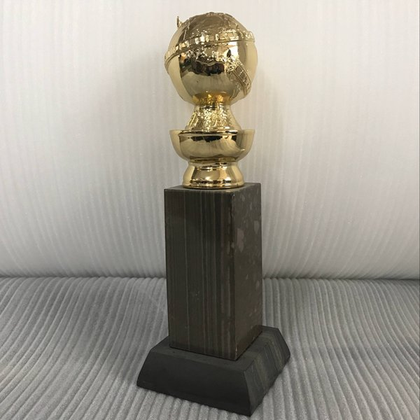 Golden Globe Award Trophy (10 Inches) with HFPA Logo Stamped In Gold- FREE Shipment Zinc Top with Marbale Base