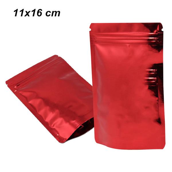11X16 cm Red Mylar Folha Doypack Resealable Zip Bloqueio Saco para Frutas Secas Lanche Folha De Alumínio Auto Vedação Bolsa De Embalagem De Alimentos Com Zíper Seco