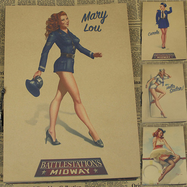 Sexy pin up girls of World War II vintage bar complex old posters posters of decorative painting classic poster