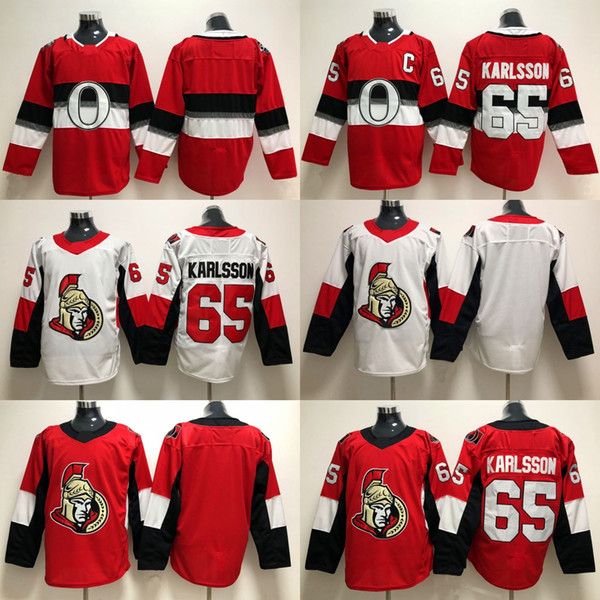 65 Erik Karlsson Ottawa Senators Jersey 2017-2018 Temporada Jersey Blanco Rojo Nuevas camisetas de hockey cosidas Envío gratis