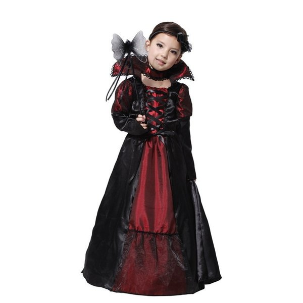 Children Girls Gothic Vampire Halloween Costumes for Kids Princess Cosplay Costume Long Carnival Party Dress