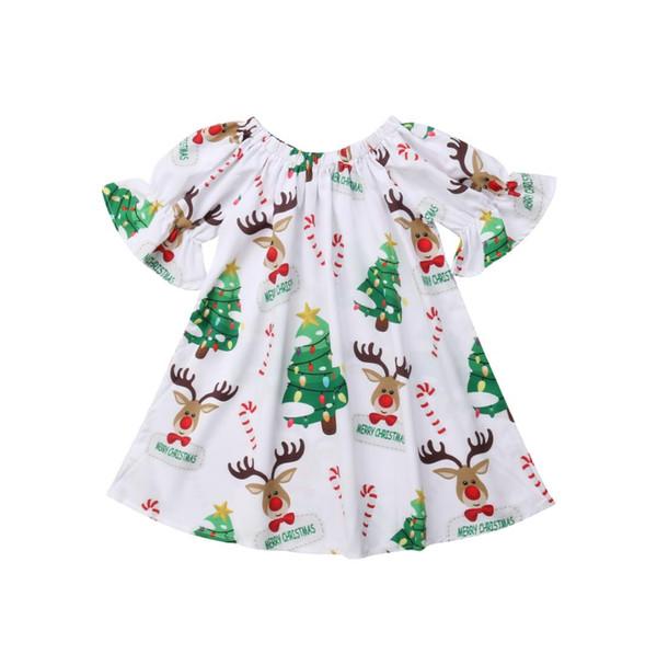 Noel Yenidoğan Bebek Bebek Kız Pretty Elbise Petal Kollu Geyik Baskı Diz Boyu A-Line Elbise Parti Kıyafet 0-18 M