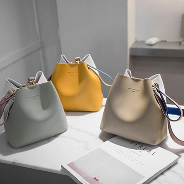 New 21*13cm Women Shoulder Leather Bucket Bag Fashion Designer Handbags High Quality Crossbody Bag Purse Twist