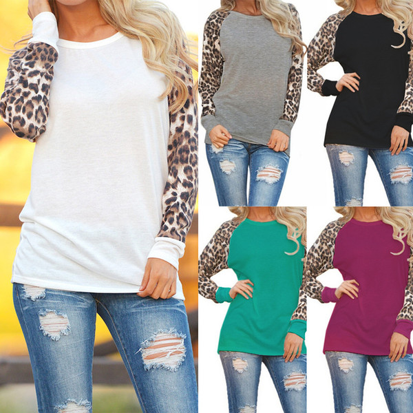 top popular Women T-shirt O Neck Leopard Print Pathwork Casual Plus Size S- 5XL Long Sleeve Europen American Fashion Tops 2021
