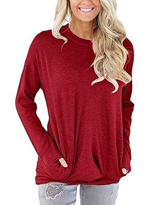top popular Autumn Woman Blouses 2020 Spring Women's O-neck Long Sleeves Loose T-Shirt Large Size Womens Pocket Tshirt Clothing Women Plus Size Tops 2021