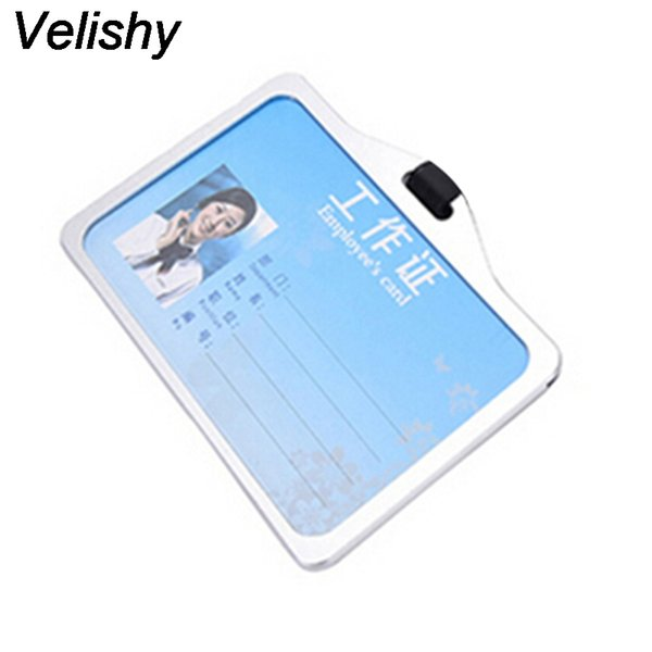 Velishy 1PC New Arrival Men Women Business Card Aluminum Alloy Metal Work Card Badge ID Holders