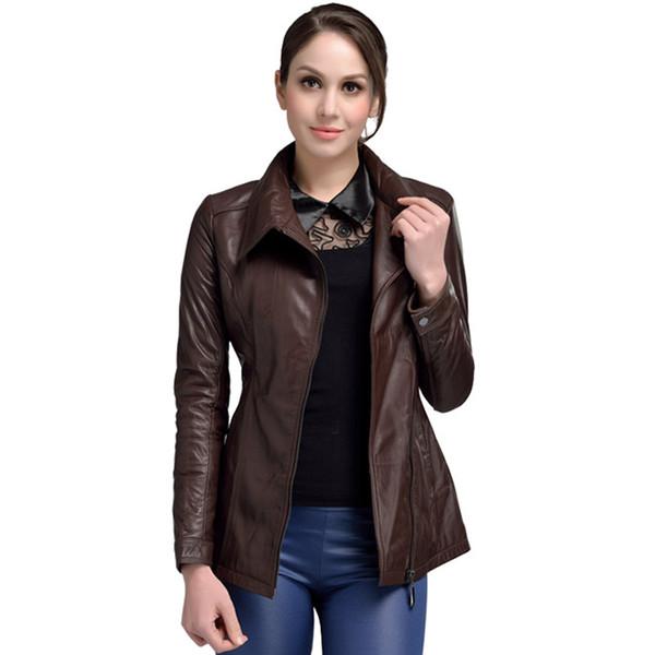 Yüksek Kalite Hakiki Deri Ceket Kadınlar Gerçek Koyun Derisi Kahverengi Ceket Closeout Satış Kadın Deri Uzun Tarzı Sonbahar Ceket