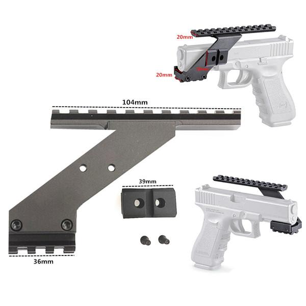 Universale Tactical Pistol Scope Mount Weaver Picatinny Rail Rail Pistola per l'aggiunta di Scope Sight Flashlight Laser