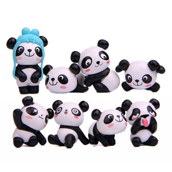 8 adet / grup Zakka Dev Panda Oynak Sürüm Modeli PVC Rakamlar Oyuncaklar DIY Mikro Peyzaj Dekorasyon Oyuncaklar Modeli Noel Hediyesi B001