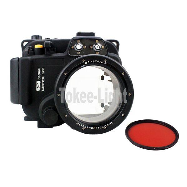 Underwater Waterproof Housing Diving Camera Case Bag for SONY NEX 5R 5T Nex-5R 5T fit 16-50mm lens with 67mm Red filter