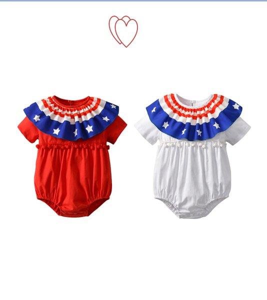 New Baby Girl Bodysuit Summer Kids Short Sleeve Jumpsuit Independence Day Celebration Clothing National Flag Style Printing