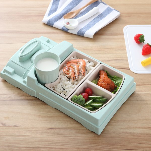 Train Shape Dinnerware Plate Tray Children's Rice Bowl Bamboo Fiber Creative Baby Cartoon Shatter-Resistant Cute Cup Tableware