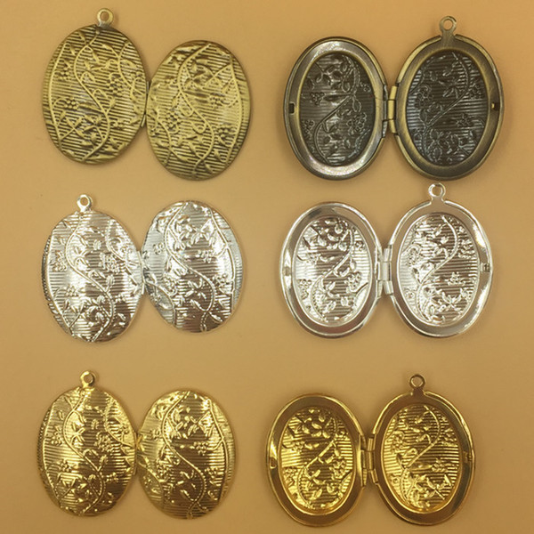 10pcs 16*24MM Oval antique bronze silver gold flower photo locket pendants for necklace vintage picture frame charm pendant wish box jewelry