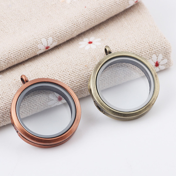 5Pcs/lot 30mm round magnetic alloy floating locket ancient bronze / ancient red copper glass locket for memory floating charm