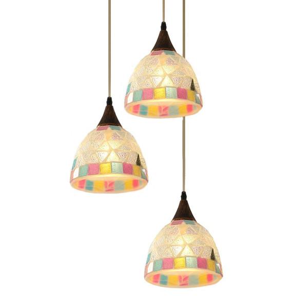 OOVOV Bohemia 3 Lights Dining Room Pendent Lamp Romantic Mosaics Cafe Bar Child Room Pendent Lamp